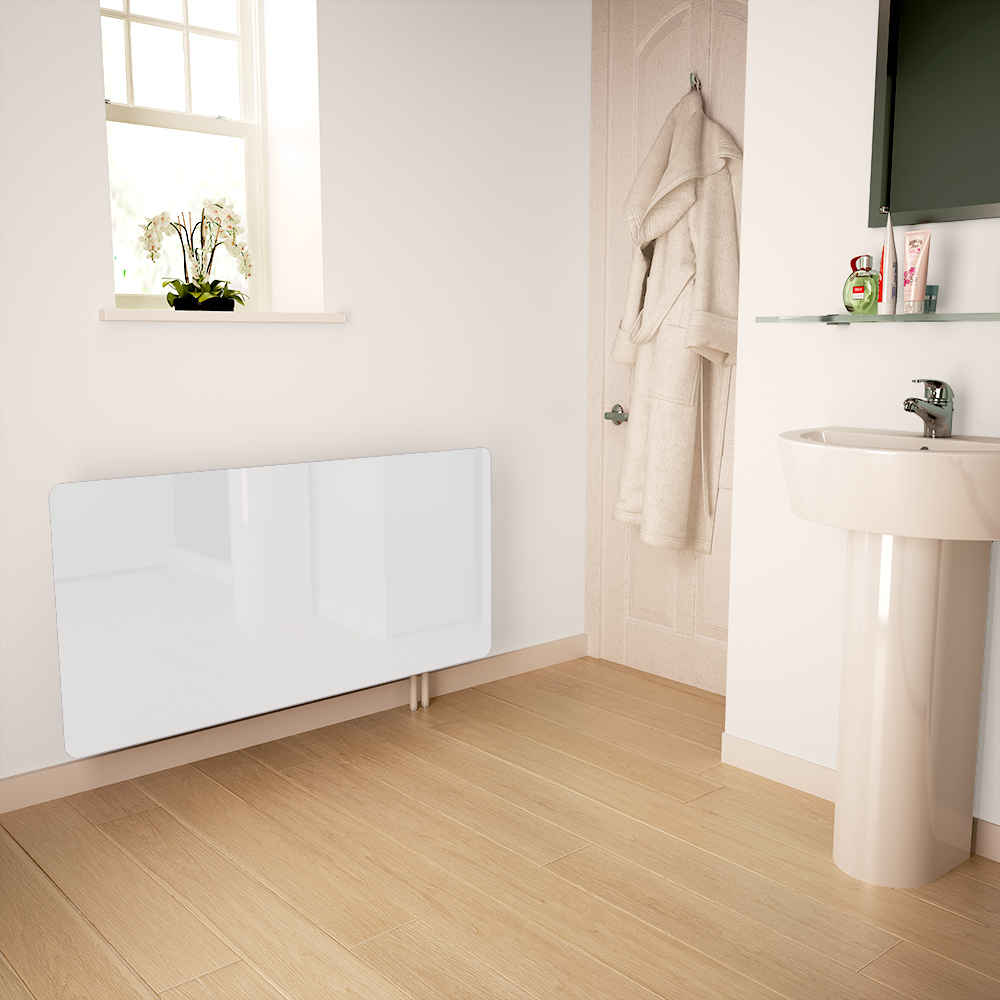 White Glass Radiator Cover For The Bathroom Small