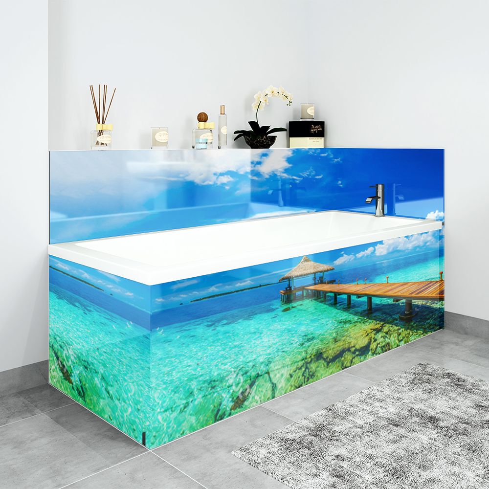 Bath Panels in our Caribbean Jetty design.