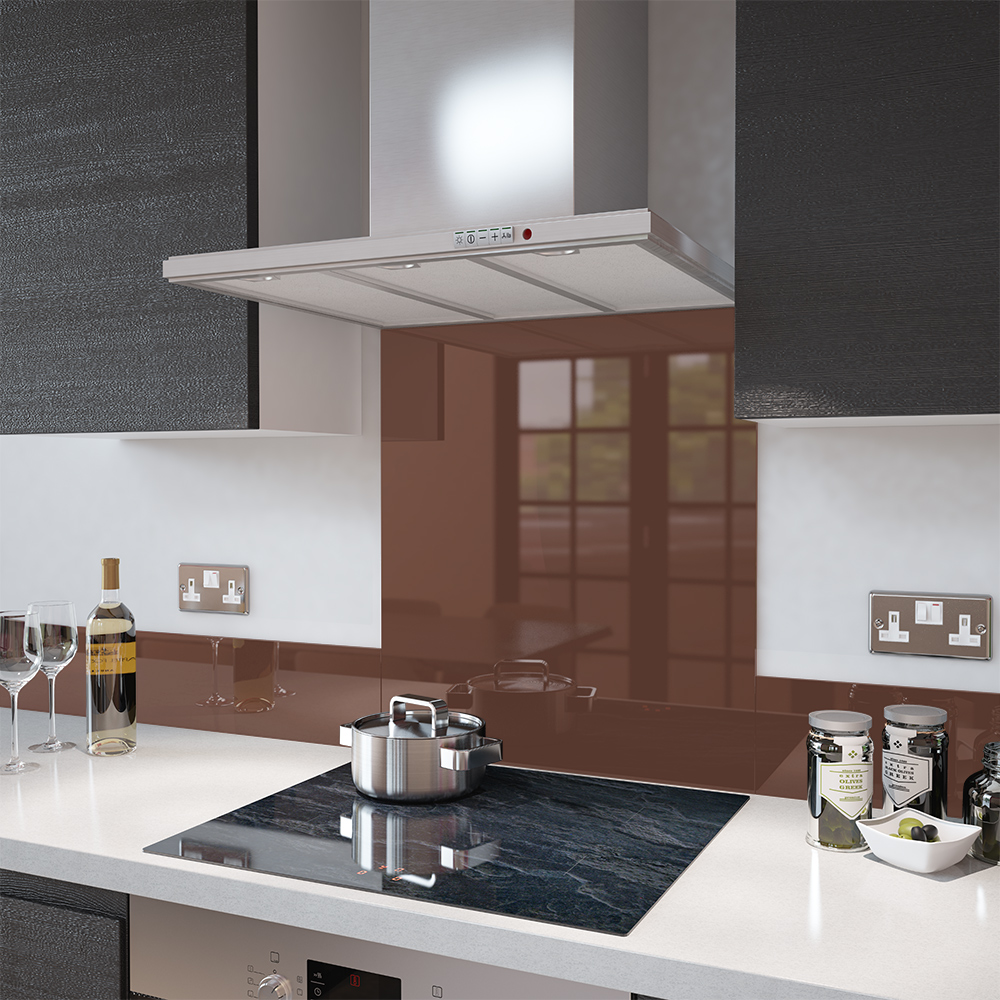 image of a Chocolate Brown glass splashback