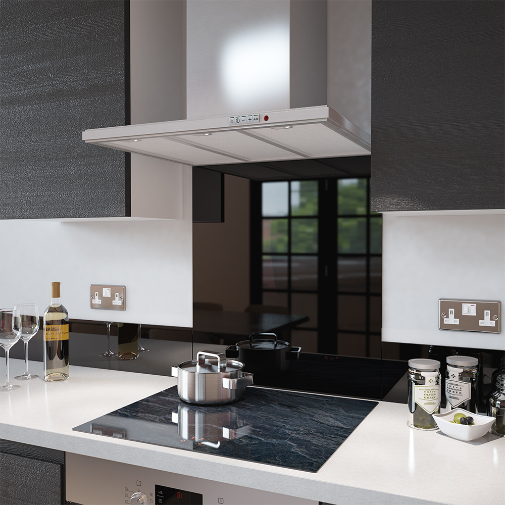image of a black glass splashback