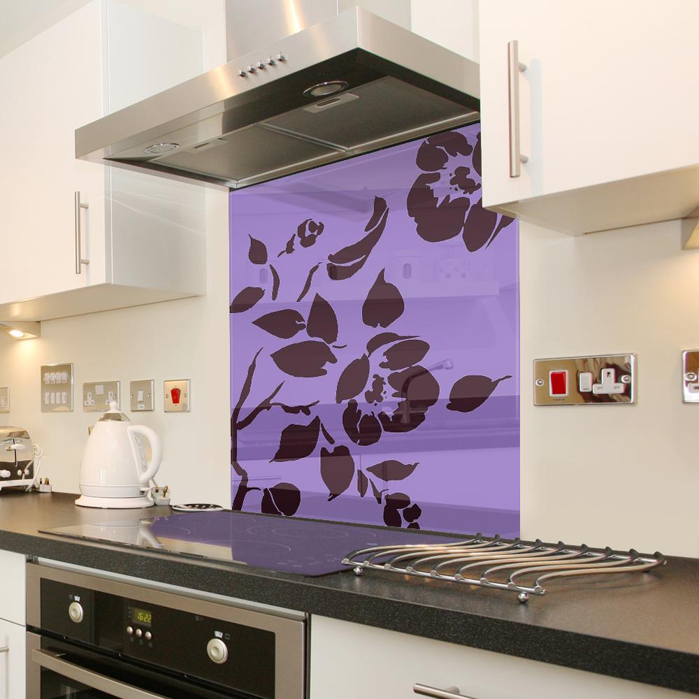 Pannello di protezione da cucina color lilla floreale in for Pannello decorativo cucina