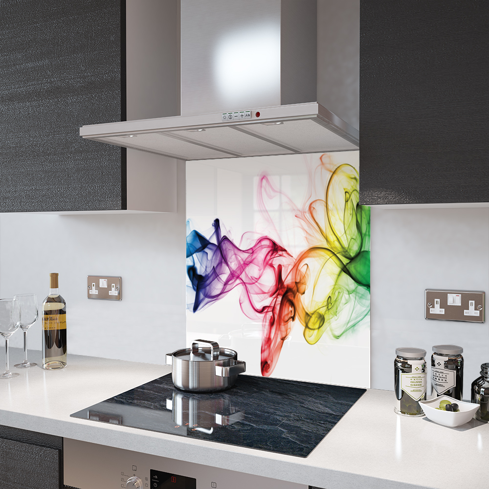 Credence Cuisine: Rainbow Smoke On White Glass Splashbacks And Accessories