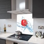 Red Apple Glass Splashback Fixing Holes - 80cm Wide x 90cm High