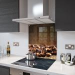 Coffee Beans - Kitchen Glass Splashback With Fixing Holes - 70cm Wide x 90cm High