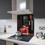 Wine and Grapes - Kitchen Glass Splashback With Fixing Holes - 70cm Wide x 90cm High