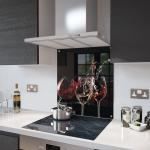 3 Glasses Of Wine Glass Splashback Fixing Holes - 70cm Wide x 65cm High