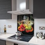 Peppers In Water Glass Splashback Fixing Holes - 70cm Wide x 65cm High