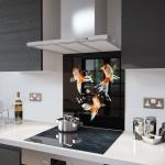 Goldfish - Kitchen Glass Splashback - 60cm Wide x 75cm High