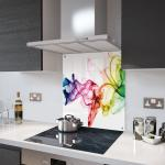 Rainbow Smoke on White - Kitchen Glass Splashback With Fixing Holes - 70cm Wide x 90cm High