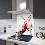 Red and White Wine Glass Splashback Fixing Holes - 70cm Wide x 65cm High