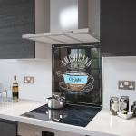 Americano Coffee - Kitchen Glass Splashback With Fixing Holes - 70cm Wide x 90cm High