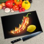 Digital Print Worktop Saver Chopping Board - Hot Chilli