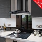 Fitted Black Glass Splashback for DC73.7 - 70cm Wide x 75cm High