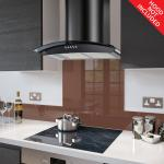 Fitted Chocolate Brown Glass Splashback for DC73.8 - 80cm Wide x 75cm High