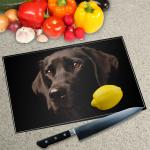 Digital Print Worktop Saver Chopping Board - Chocolate Lab
