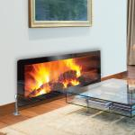 Real Flame Pine Cone Fire - Printed Glass Radiator Cover