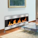 Real Flame Fire with Pebbles - Printed Glass Radiator Cover