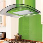 60cm Lime Green Glass Cooker Hood With Fitted Glass Splashback