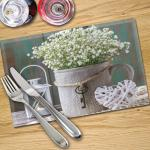 Digital Print Placemat x 4 - Flowers, Bucket and Lantern