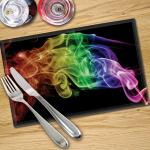 Digital Print Placemat x 4 - Black Rainbow Smoke