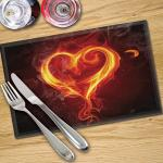 Digital Print Placemat x 4 - Black with Flame Heart