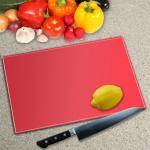 Lipstick Red Toughened Glass Worktop Saver Chopping Board