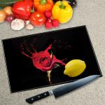 Digital Print Worktop Saver Chopping Board - Paint Drip Red Rose