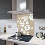 Cappuccino Floral - White Flower Glass Splashback - 70cm Wide x 75cm High