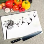 Digital Print Worktop Saver Chopping Board - Dandelion Ballerinas On White