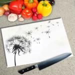 Digital Print Worktop Saver Chopping Board - Dandelion On White