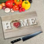 Digital Print Worktop Saver Chopping Board - Home and Red Heart