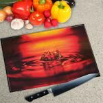 Digital Print Worktop Saver Chopping Board - Red Splash
