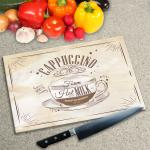 Digital Print Worktop Saver Chopping Board - Cappuccino Coffee Retro