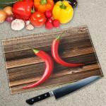 Digital Print Worktop Saver Chopping Board - 2 Chilies on Chopping Board