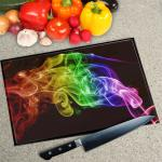 Digital Print Worktop Saver Chopping Board - Black Rainbow Smoke