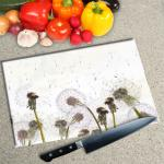 Digital Print Worktop Saver Chopping Board - Dandelion Clocks