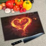 Digital Print Worktop Saver Chopping Board - Black with Flame Heart