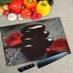 Digital Print Worktop Saver Chopping Board - Rose and Pebbles