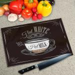 Digital Print Worktop Saver Chopping Board - Flat White Coffee