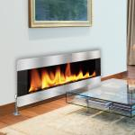 Silver - Real Flame Fire - Printed Glass Radiator Cover
