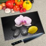 Digital Print Worktop Saver Chopping Board - Orchid And Pebbles