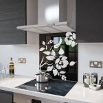 Black Floral - White Flower Glass Splashback - 70cm Wide x 75cm High