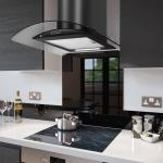 70cm Curved Smoked Glass Cooker Hood in Black - PRX70B