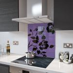 Lilac Floral - Black Flower Glass Splashback - 60cm Wide x 75cm High
