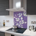 Lilac Floral - White Flower Glass Splashback - 60cm Wide x 75cm High