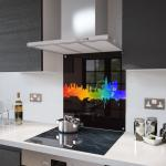 London Fusion On Black Glass Splashback Fixing Holes - 100cm Wide x 65cm High