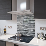 Slate Wall - Kitchen Glass Splashback With Fixing Holes - 60cm Wide x 80cm High