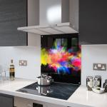 Colour Fusion on Black Glass Splashback Fixing Holes - 100cm Wide x 100cm High