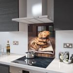 Chocolate Chip Cookie Glass Splashback Fixing Holes - 100cm Wide x 100cm High