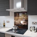 White Coffee Cup With Beans - Glass Splashback - 60cm Wide x 75cm High
